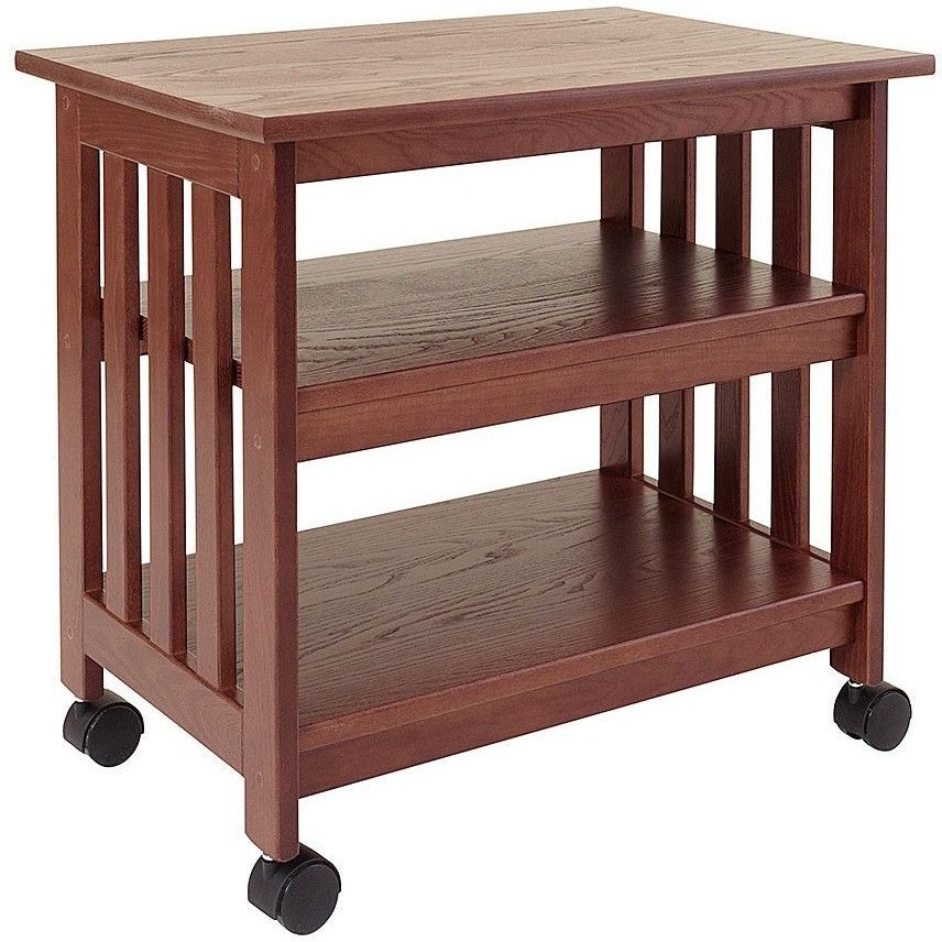 Mission Style Wooden Tv Printer Stand Cart In Chestnut Finish
