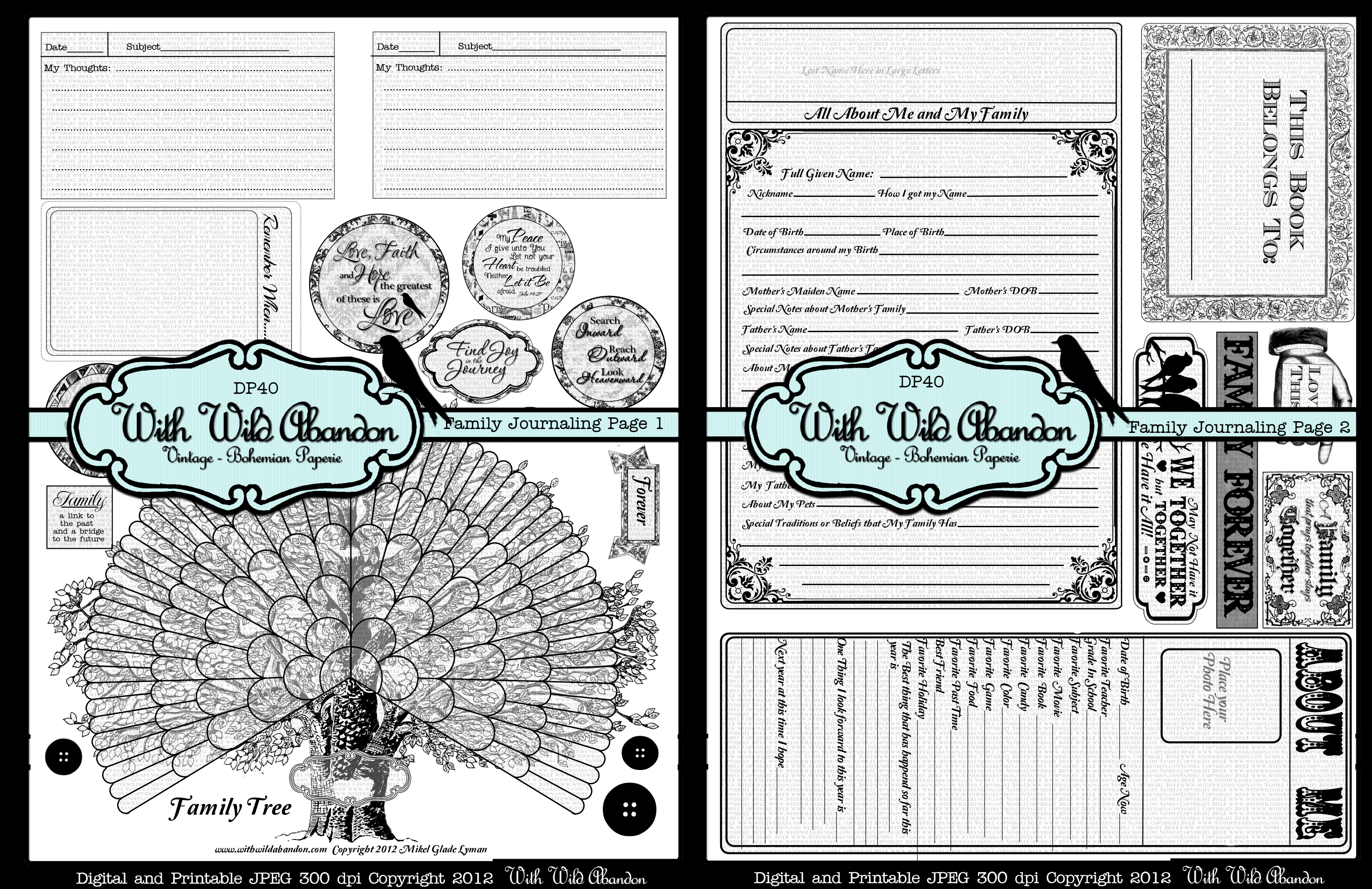 Printable Family History Journal Prompts and Family Tree 2 pages