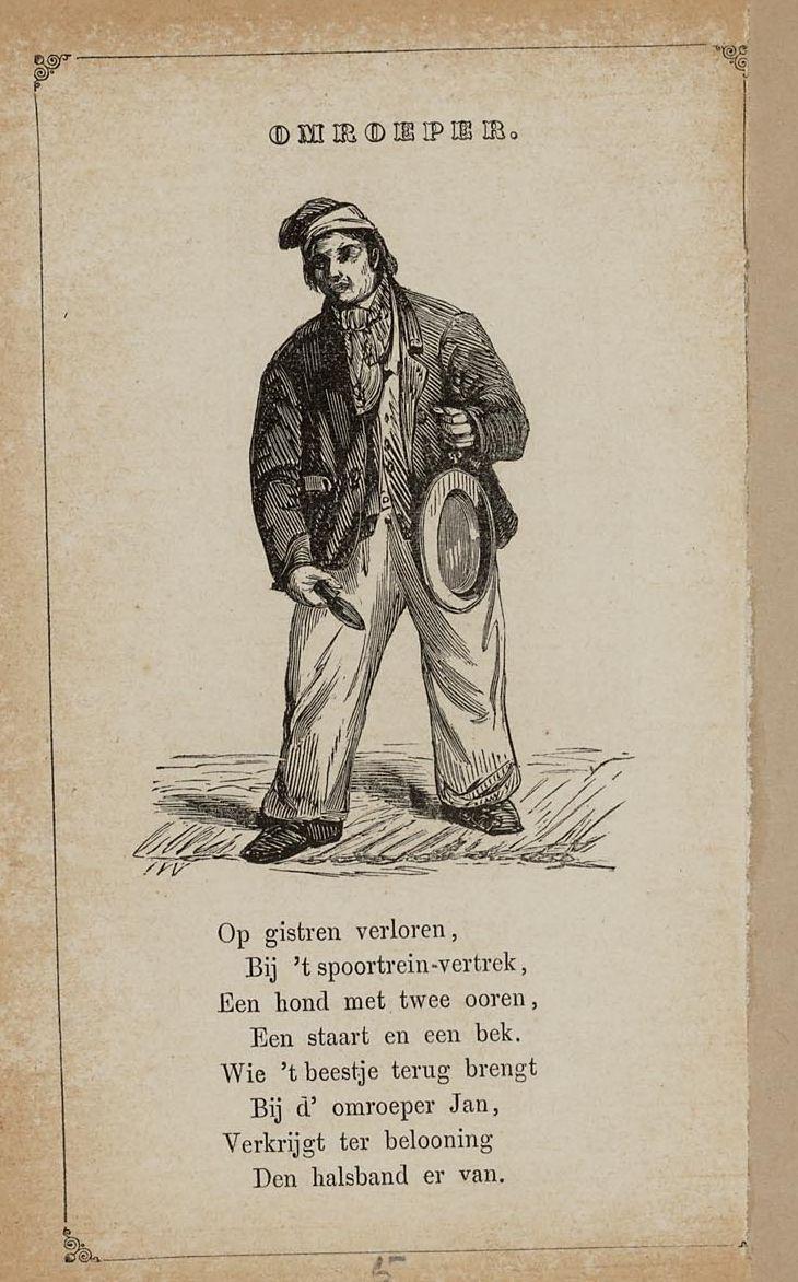 Omroeper. Uit: Prentenboek: een ijverige hand vindt werk, 1850. Aanvraagnummer: 851998240