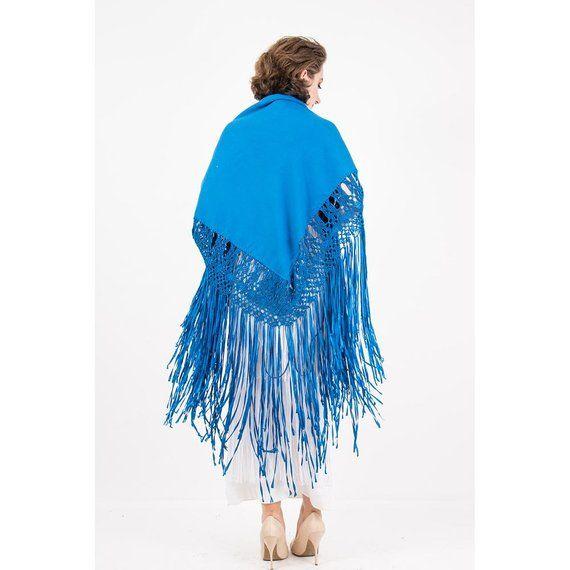 ce572dac8 Vintage hand knotted fringe piano shawl / Royal blue wool with rayon ribbon  fringe eve