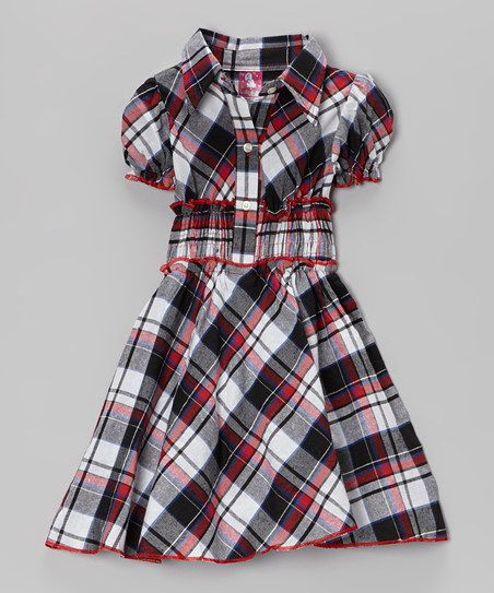 I think Maisy needs this! Black & Red Plaid Dress - Toddler & Girls