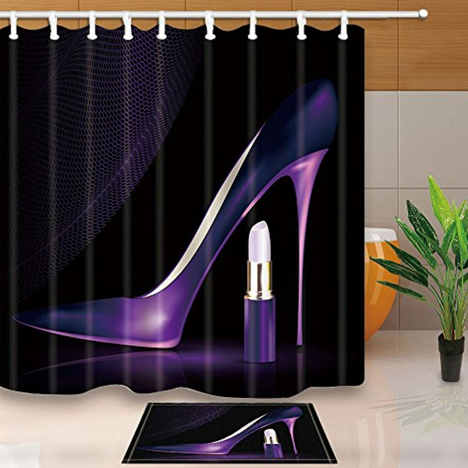 NYMB Cosmetic And Make Up Decor, Elegant Purple High Heels With Lipstick,  69X70in Mildew