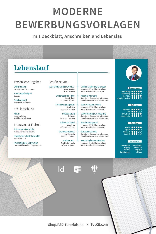 Moderne Bewerbungsvorlagen Herunterladen Word Indesign Bewerbung Lebenslauf Lebenslauf Bewerbung