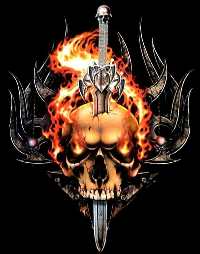 Skull Flames And Sword With Images Skull Artwork Skull