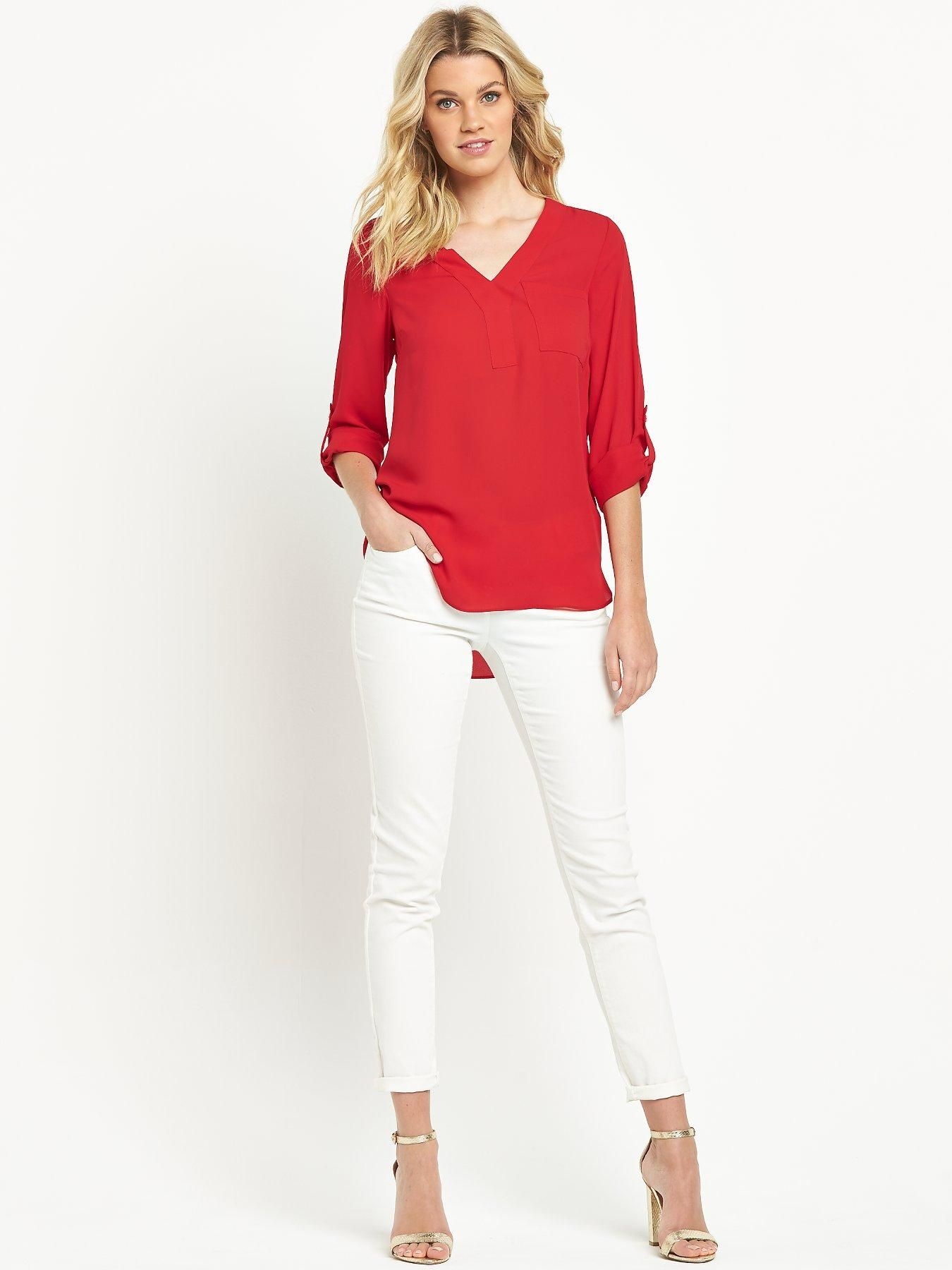 Top ideas for red pants - Red Top White Pants Silver Heels Shoes