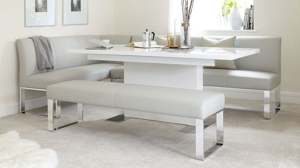 This Modern Corner Bench And Extending Dining Table Set Combines A 7 Seater  Faux Leather And Chrome Dining Bench With An Extending White Gloss Pedestal  Base ...