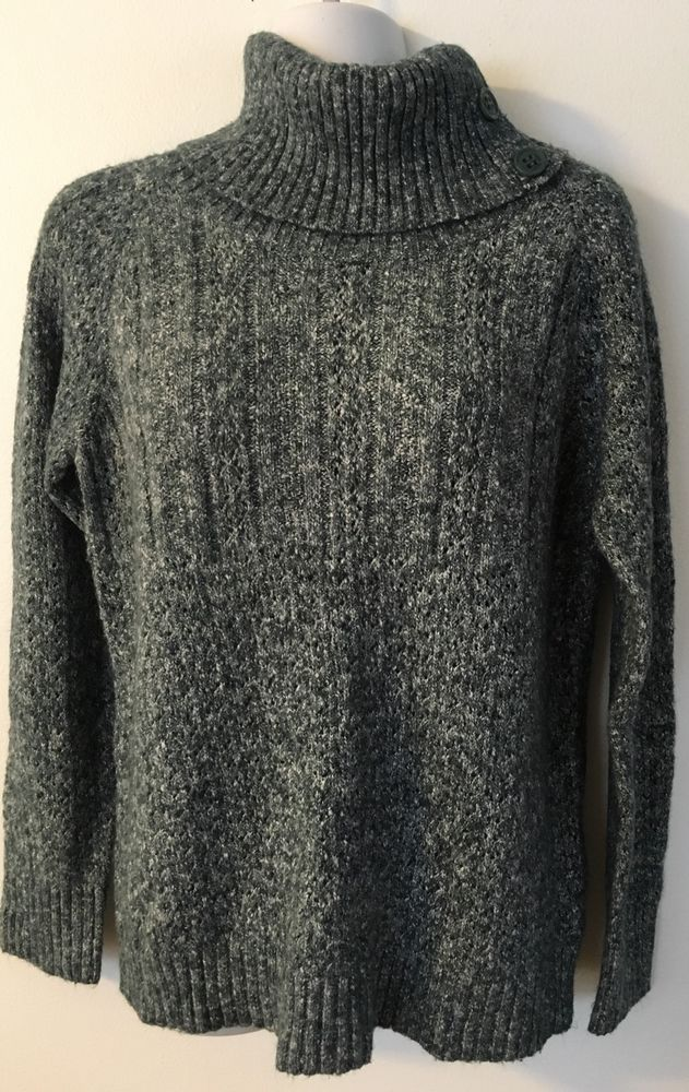 Sonoma Green Marled Cowl Neck Sweater, size M Buttons Cotton Blend ...