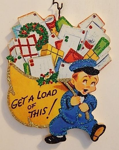 POSTMAN w/ HUGE BAG of GIFTS, GET A LOAD of THIS! * Glittered CHRISTMAS ORNAMENT