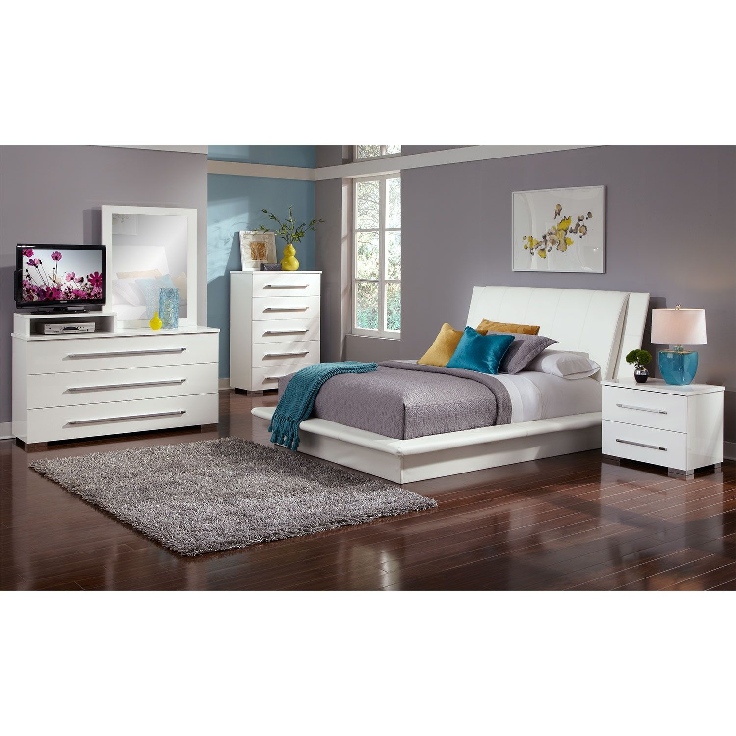Dimora Queen Upholstered Bed - White | White queen bed, Queen beds ...