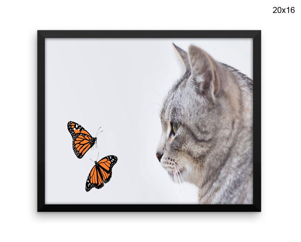 Butterflies Canvas Art Kitten Printed Butterflies Living Room Art ...
