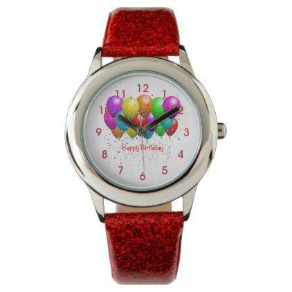Happy Birthday Kid S Red Glitter Strap Watch Red Style Pinterest