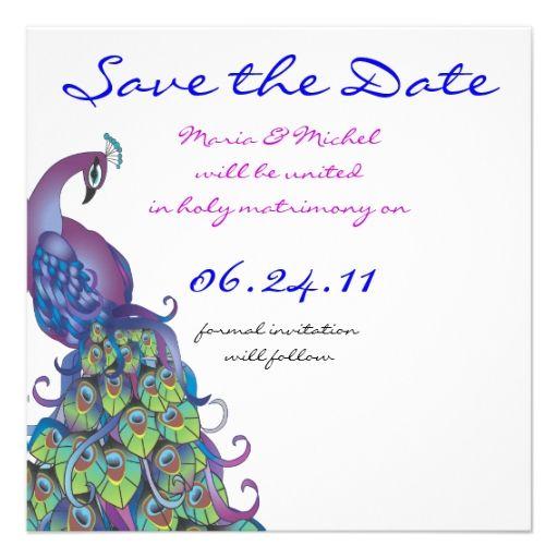 Peacock Theme Wedding Invitation Save The Date