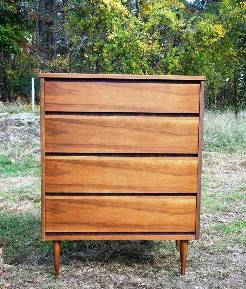 Vintage Mid Century Modern Bassett Furniture Gala Series Highboy