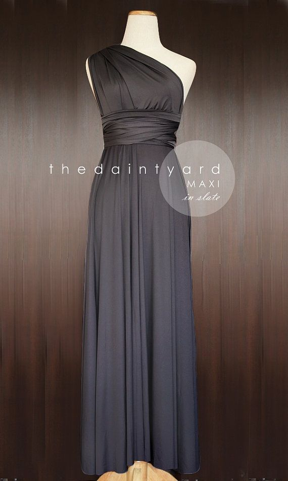 Maxi Length Slate Bridesmaid Convertible Dress Infinity Dress Multiway Wrap  Dress Prom Maxi Long Dress Dark Grey Gray Charcoal 038a280c1486