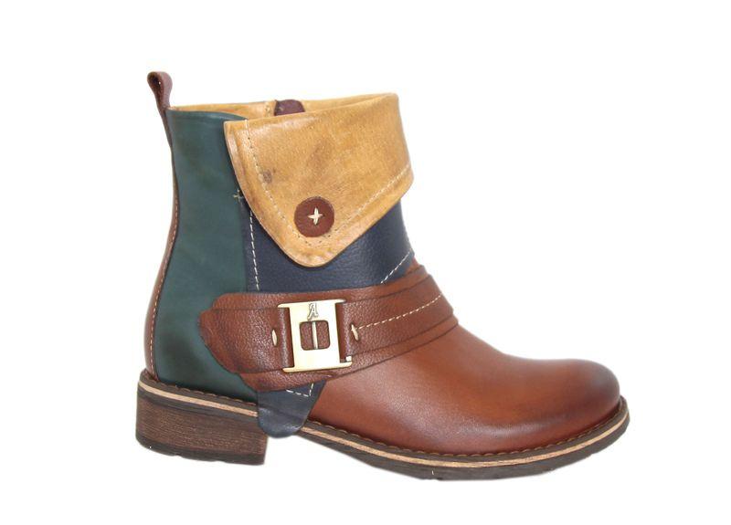 Botki Riva Zielone Ze Skory Naturalnej Boots Biker Boot Shoes