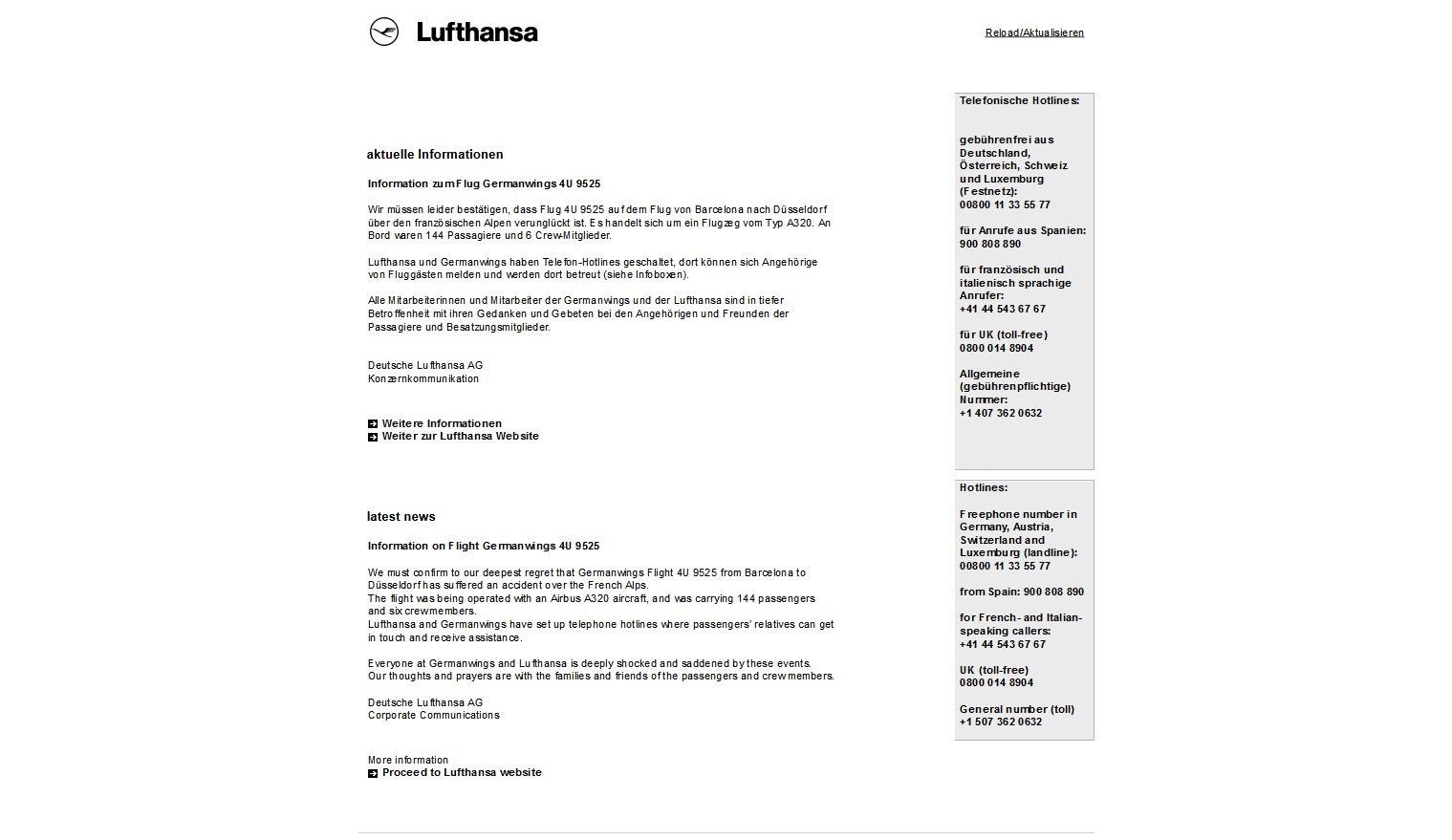 Lufthansa website redirects to this page, a few hours after the crash of flight 4U 9525 from Barcelona to Düsseldorf in the French Alps on March 24th 2015. Lufthansa is the parent company of German Wings.