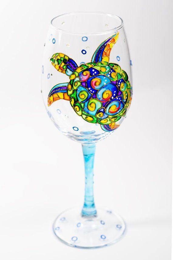 Sea Turtle Wine Glasses Beach Themed Wine Glasses Bridesmaid Gift