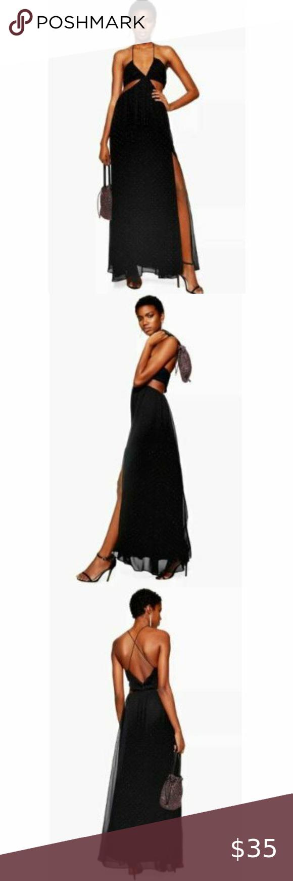 Topshop Black Rainbow Studded Cutout Maxi Dress 8 Cutout Maxi Dress Top Shop Dress Dresses [ 1740 x 580 Pixel ]
