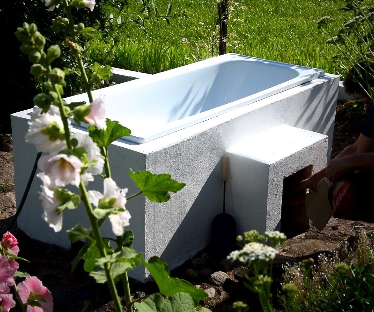 Diy hot wood fired tub 20 for relax in garden backyard