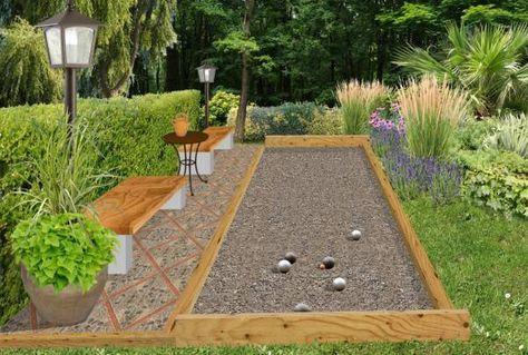 Cr er un jeu de boules p tanque ou lyonnaises au jardin - Comment faire un terrain de petanque ...