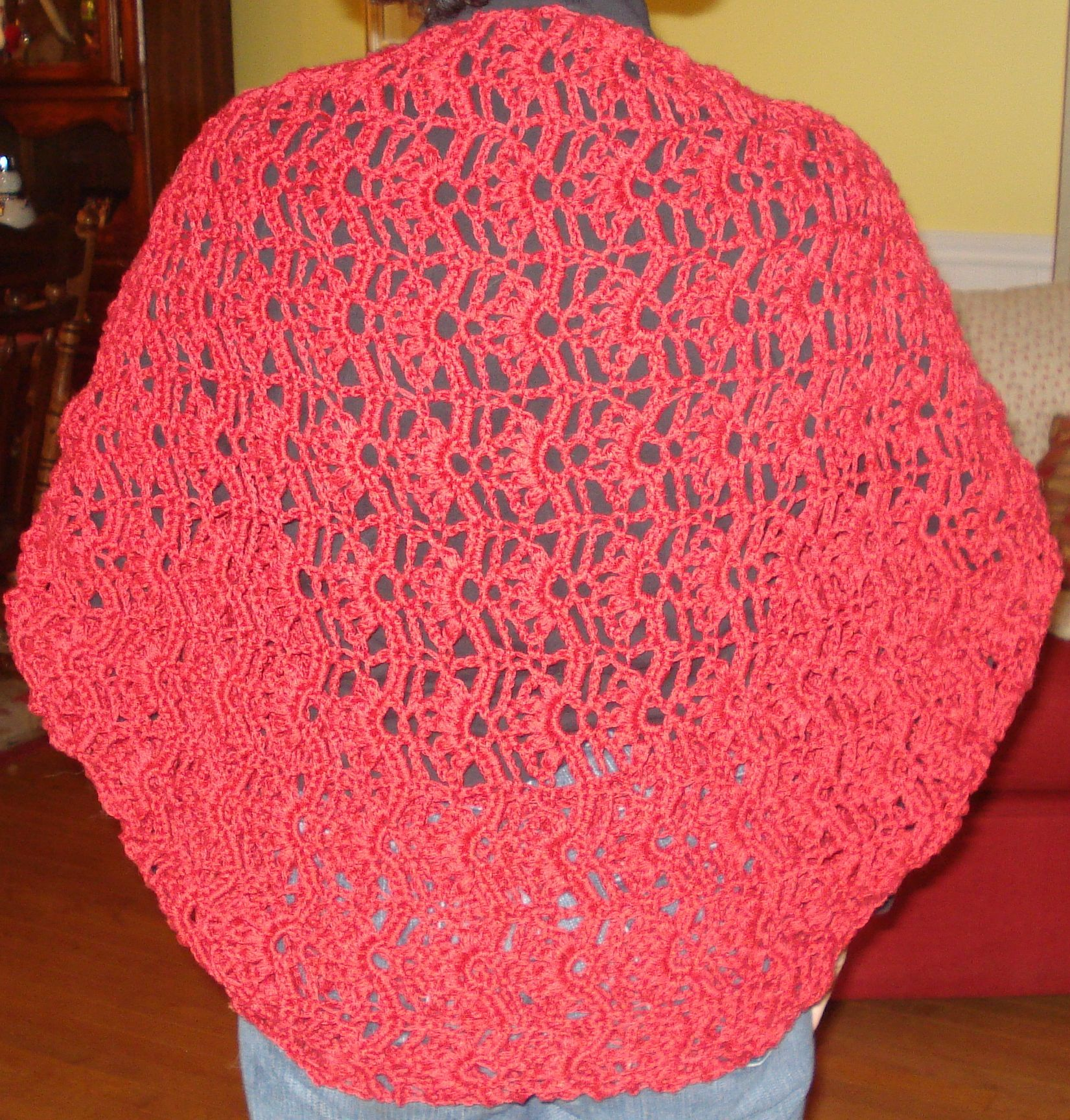 I learned how to crochet so I could make this to wear to a wedding.  It was made using a Rowan Cotton Yarn.