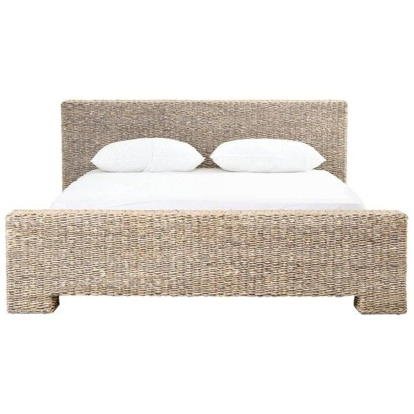 Low Profile Rattan Bed In King Size 2 000 Liked On Polyvore Featuring Home Furniture Beds Beige Ivory