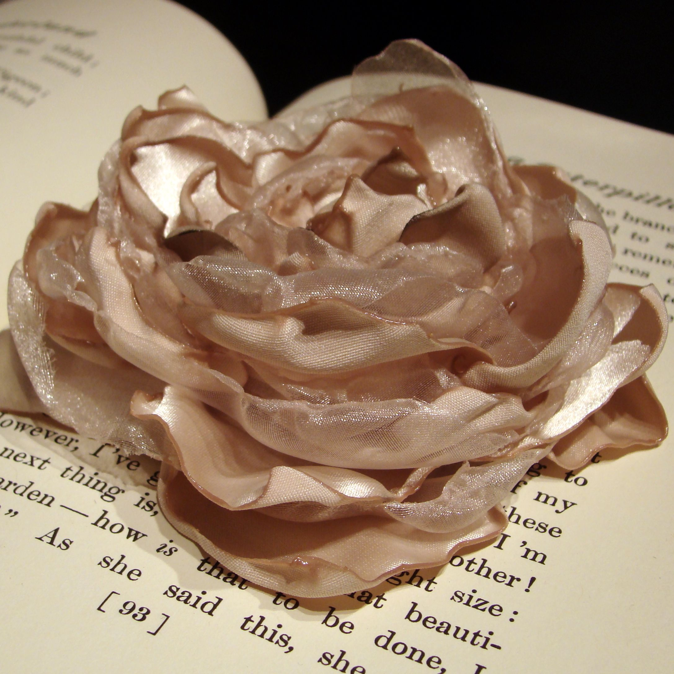 Champagne satin & matching tulle fabric flower. Can add a barrette, headband, clip or pin. $7.95.