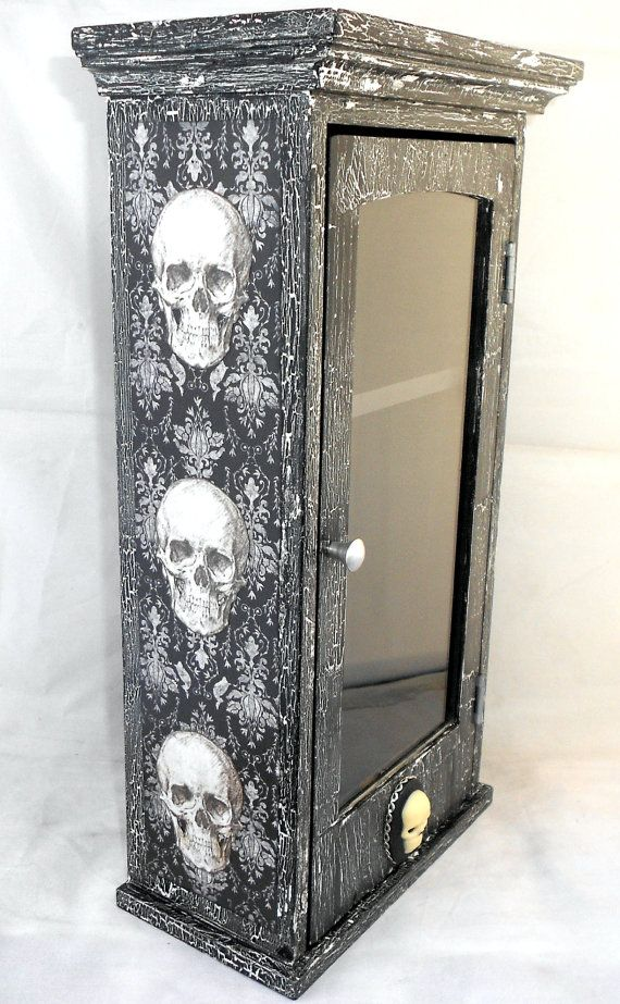 Gothic Home Decor Curio Cabinet Skull By Nacreousalchemy 55 00