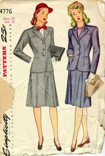 Woman Suit Pattern : woman, pattern, Mid-1940s, Simplicity, Pattern, Tailored, Woman's, Flattering,, Feminine, Shape., Pattern,, Suits, Women,, 1940s, Outfits