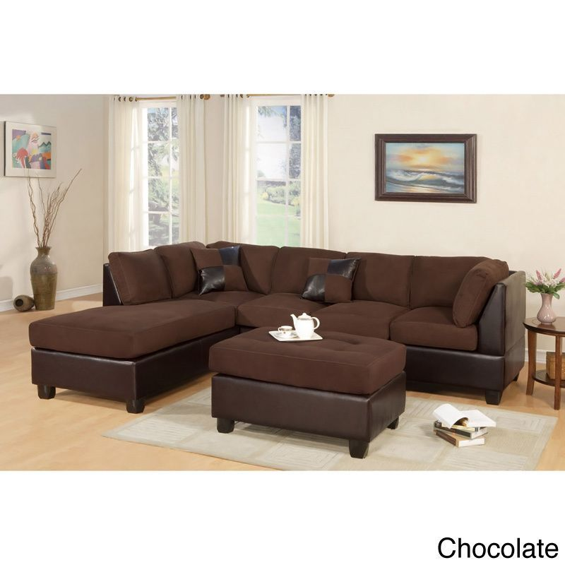 Poundex Montpellier Dual Tone Sectional Sofa Set With Matching