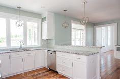 Southern Living Eastover Cottage - White Kitchen (SW Extra White), SW Copen Blue Walls, Glass Tile, Bamboo Pulls, Bamboo Glass, Brazilian Koa Floors