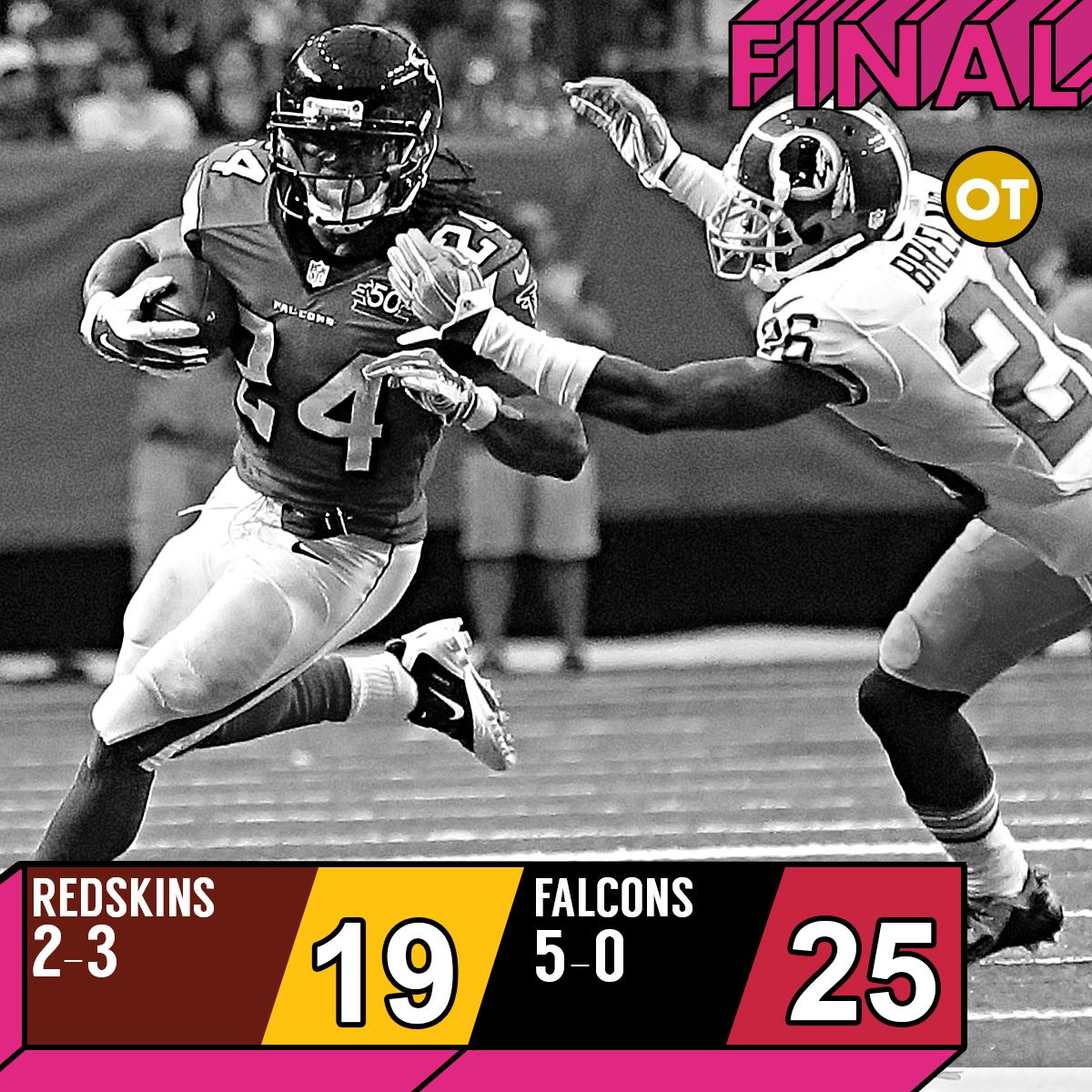 Thanks To The Unbelievable Legs Of Rb Devonta Freeman The Atlanta Falcons Remain Undefeated Coming Out Of Week 5 Redskins Atlanta Falcons Washington Redskins