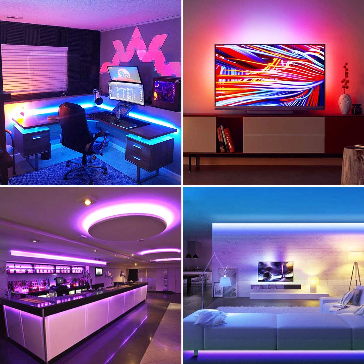 Led Strip Lights 16 4ft Dimmable Waterproof Ip65 5050 Rgb Color Changing Rope Lights Smart Stri Led Strip Lighting Strip Lighting Color Changing Rope Lights