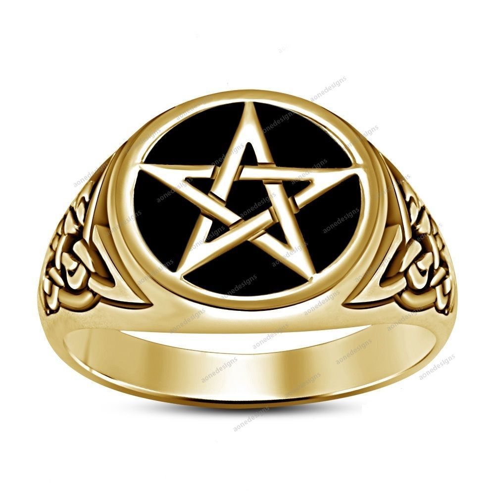 Men\'s Without Stone 14k Yellow Gold Finish 925 Silver Five Star ...