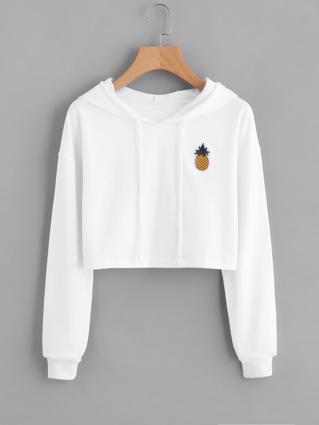 2990eb0f12 Shop Pineapple Patch Crop Hoodie online. SheIn offers Pineapple Patch Crop  Hoodie & more to fit your fashionable needs.