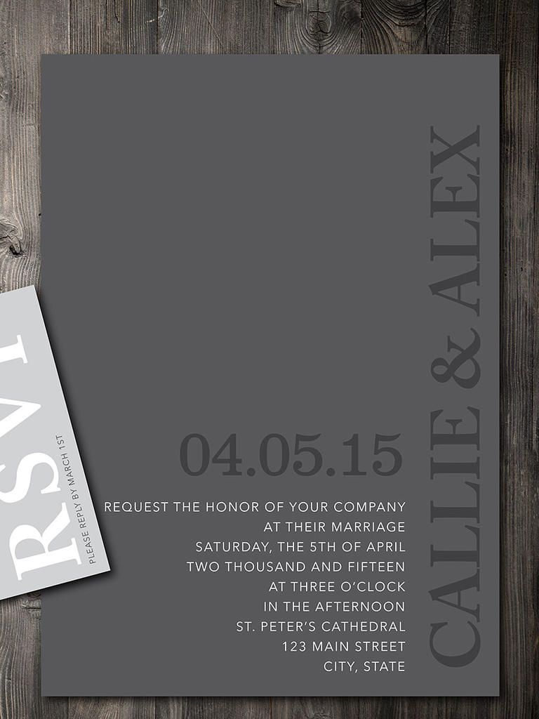 Looking for sleek sophistication in your wedding invites? These modern DIY printable wedding invitations feature gray palettes that boast clean and simple block letters.