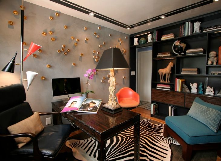 Charmant Eclectic Home Office Accent Wall Design