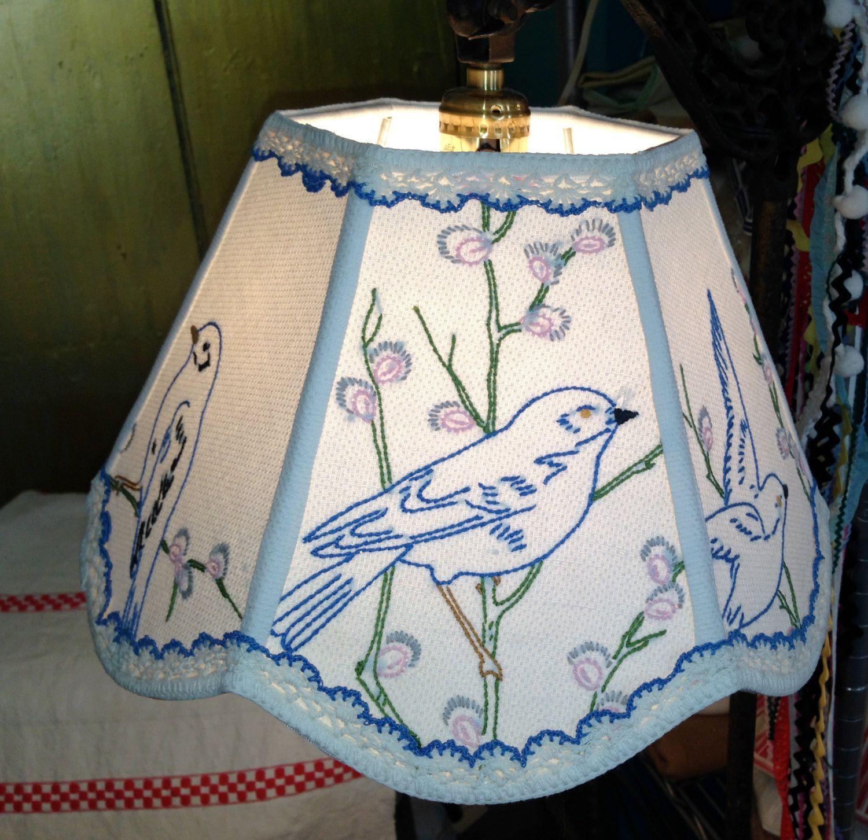 Lamp shade uno bird lampshade 7x12x8 bridge lampshade from vintage lamp shade uno bird lampshade 7x12x8 bridge lampshade from vintage embroidery shabby chic handmade lampshade by lampshadelady on etsy aloadofball Image collections