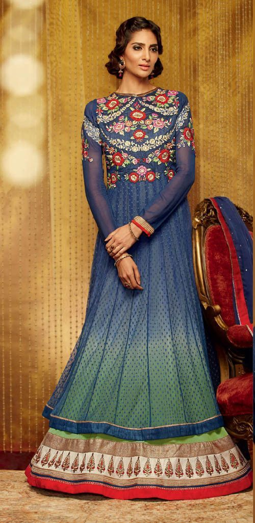 Blue Net Semi-Stitched Embroidered Anarkali Salwar Suit