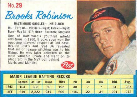 Post Cereal Baseball Cards Brooks Robinson 1962 Post