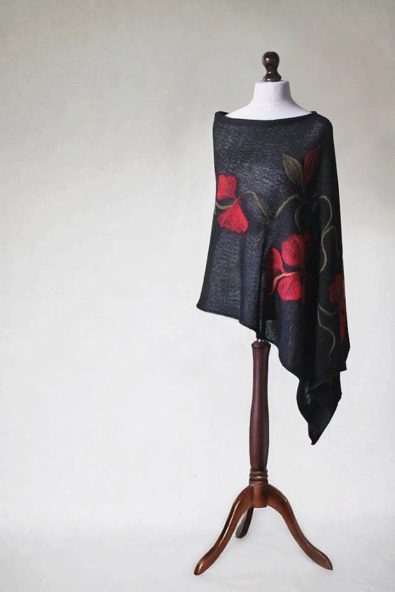 Black poncho, knit poncho, women's cape, knit shawl, knit scarf, felted  appliques, woemn's poncho, felted poncho, knit capelet, women's coat
