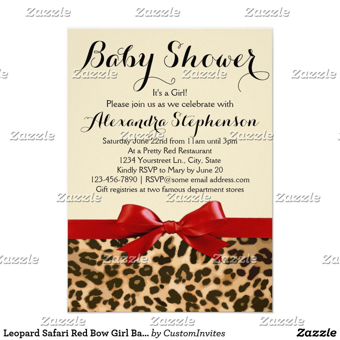 Leopard Safari Red Bow Girl Baby Shower Invitation | Fun baby and ...