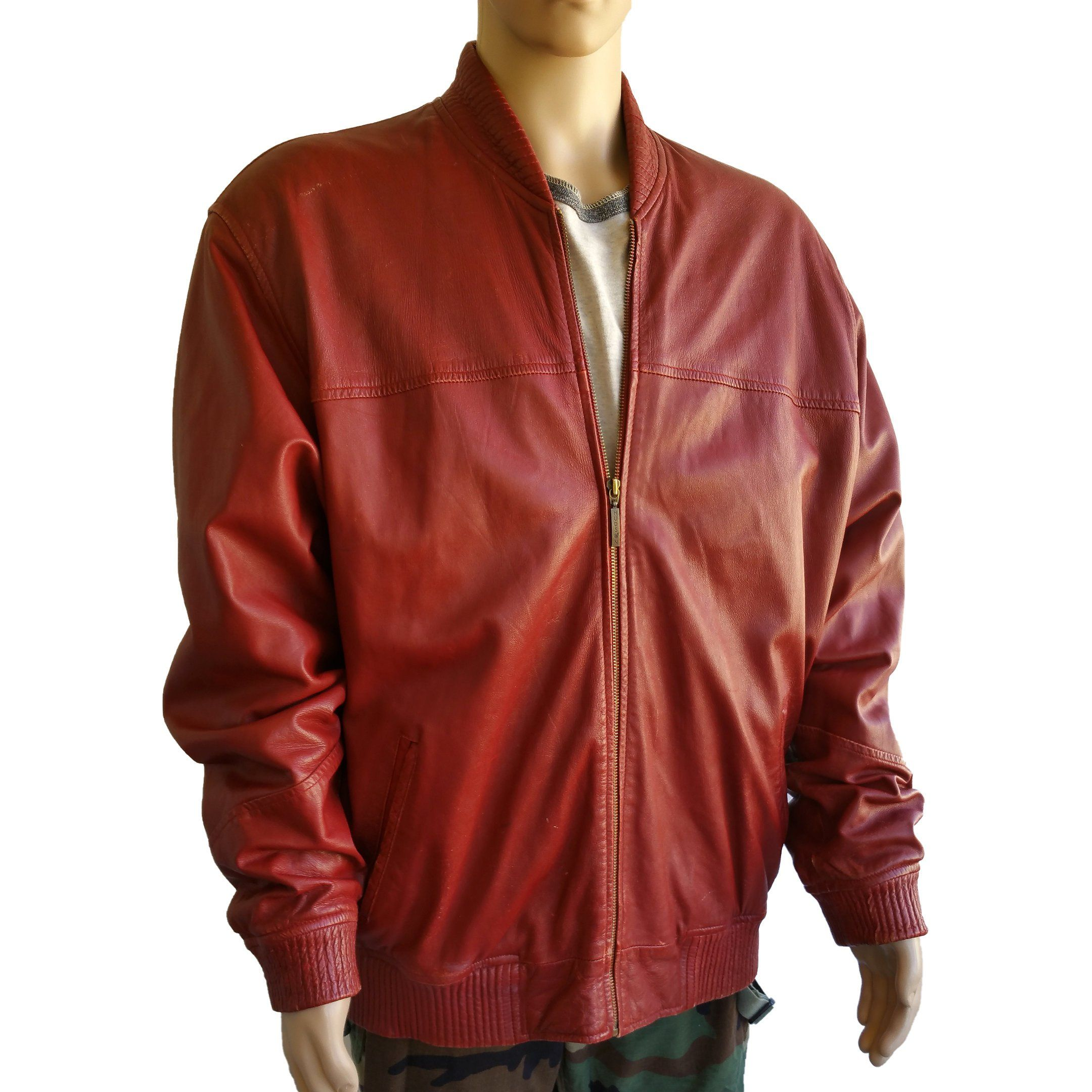 Vintage Mens Leather Bomber Jacket Hudson Outerwear Size 2xl Xxl Red Oxblood Distressed Leather Coat By Mens Leather Bomber Jacket Bomber Jacket Leather Bomber [ 2160 x 2160 Pixel ]