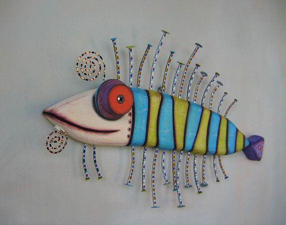 Twisted Catfish Original Found Object Wall Art by FigJamStudio