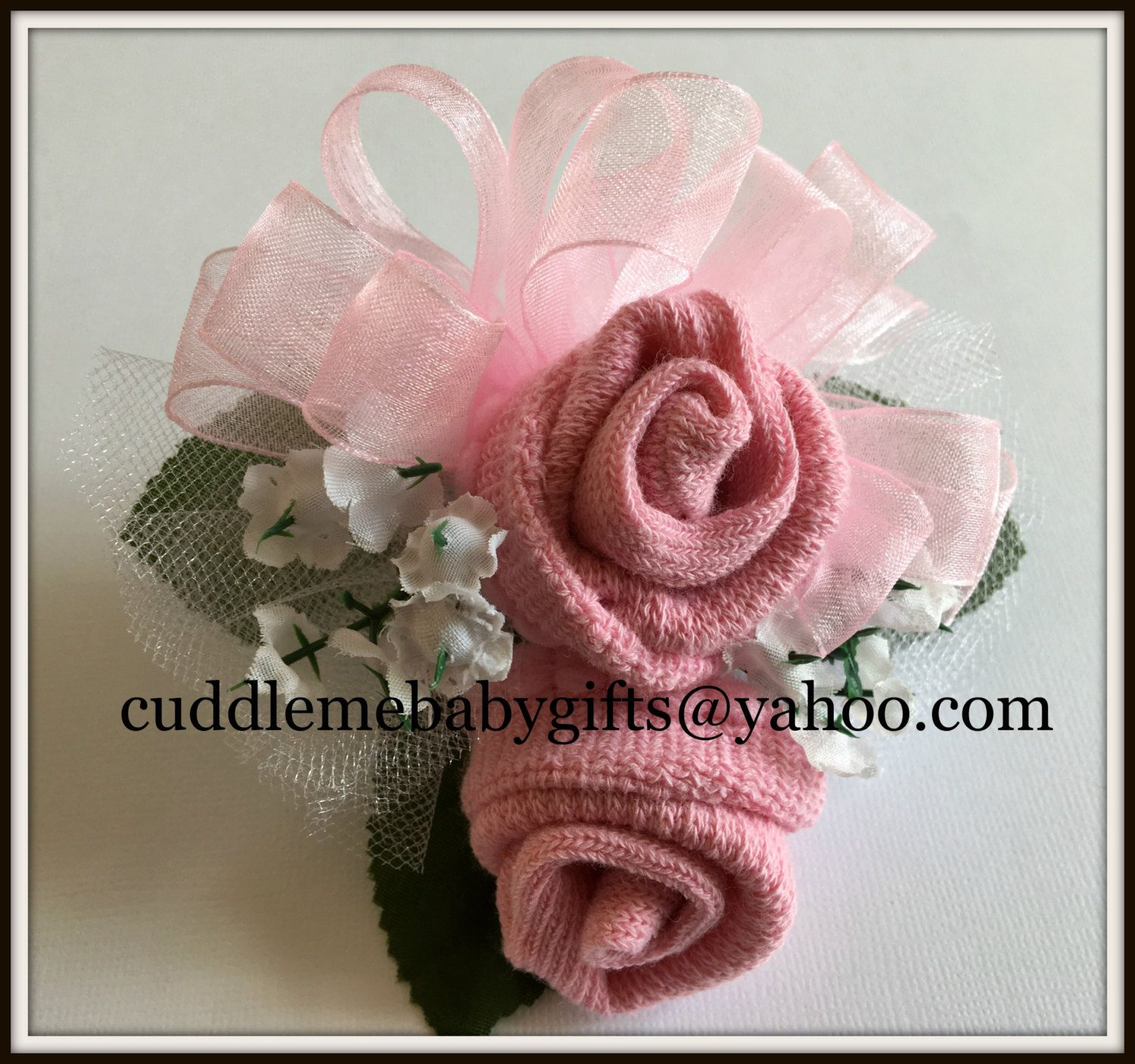 Baby Shower Baby girl Wrist or Pin on Baby Sock Corsage