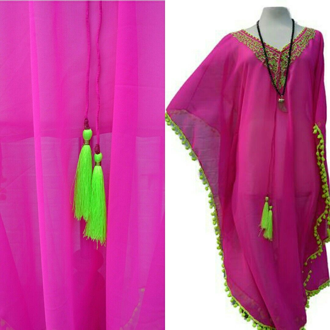 Fuschia pink kaftan with neon color tassels n neck embroidery. It\'s ...
