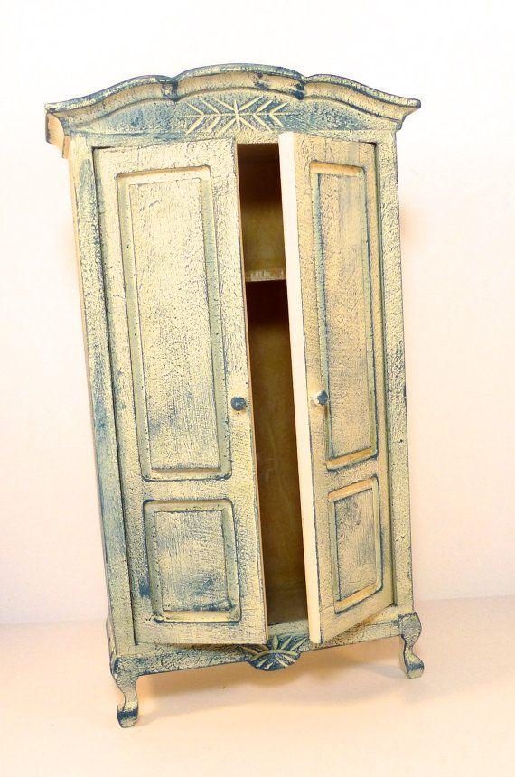 Casa de muñecas de Shabby Chic azul venta pintado armario armario ...