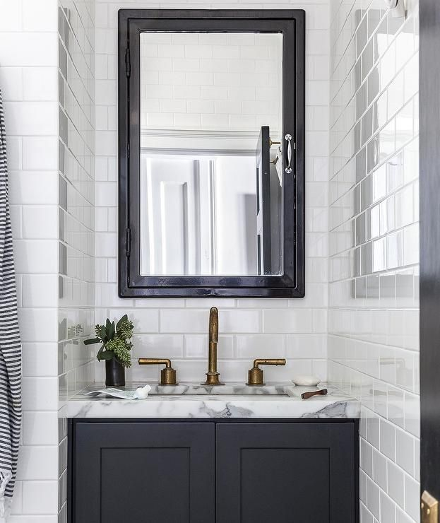 Gorgeous Black And White Contemporary Bathroom Boasts A Restoration Hardware Pharmacy Wall Mount Medicine Cabinet Framed By All Subway Tiles Accented