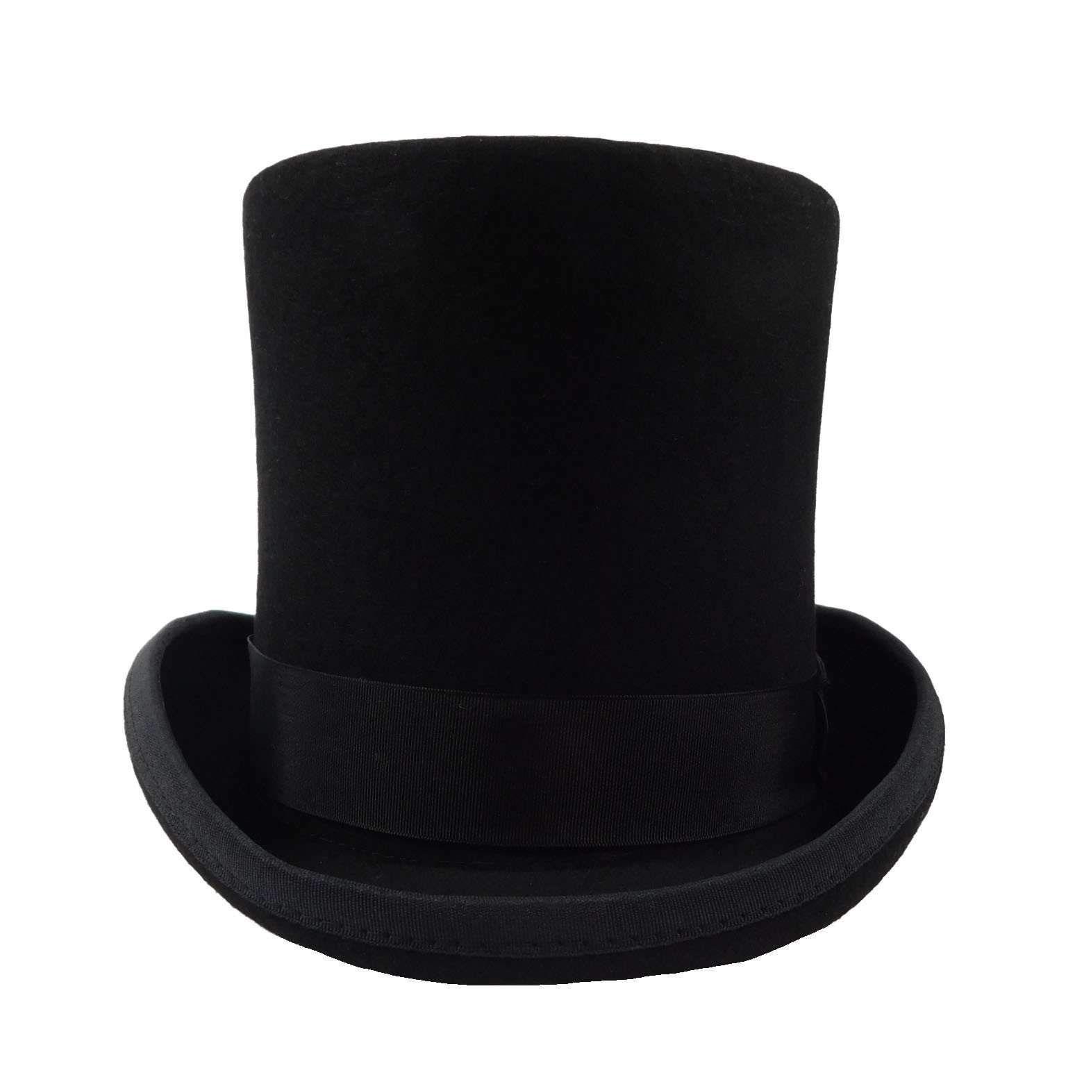 Tall Wool Felt Top Hat With Satin Lining Top Hat Hats Wool Felt