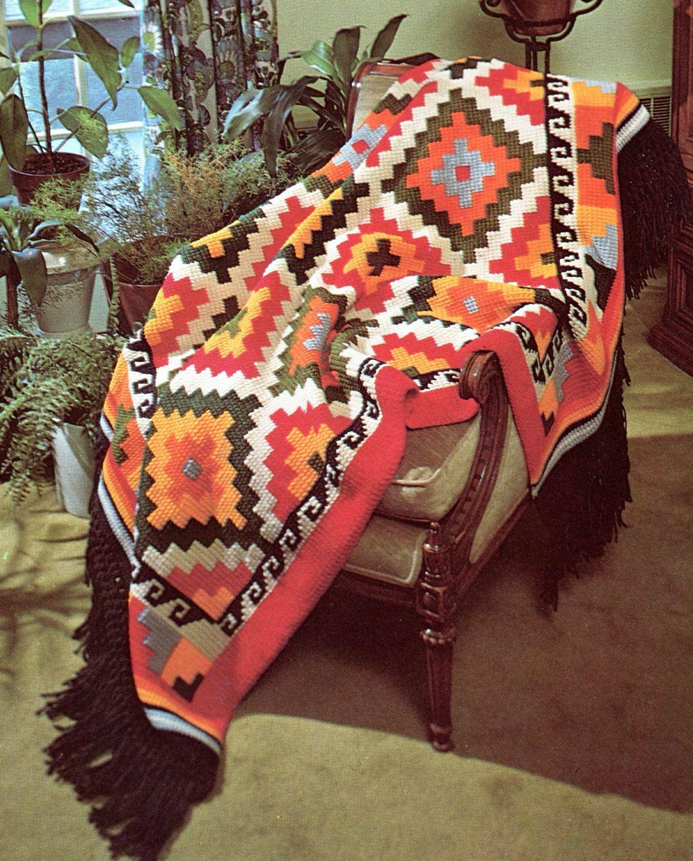 Earthy Geometric Indian Afghan Crochet Pattern   Deckchen, Häckeln ...